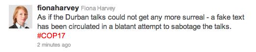 Fiona Harvey vom Guardian twitter fleißig und mit eigener Meinung.
