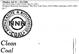 Clean Coal 1921, The New York Times